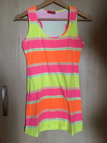 Sukienka plażowa neonowa w paski