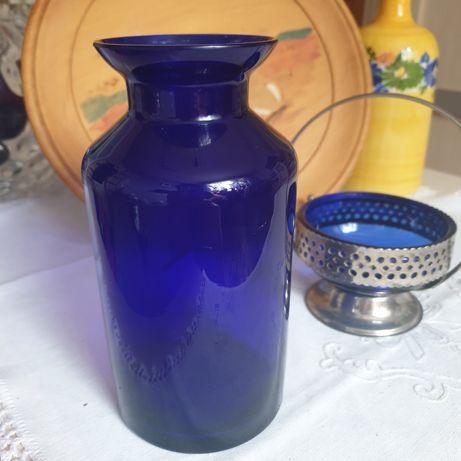 Wazon, butla aptekarska szkło kobalt - Prl