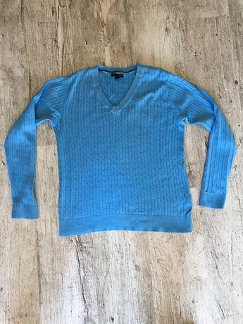 Tommy Hilfiger L Niebieski Sweterek 100% bawełna jak NOWY