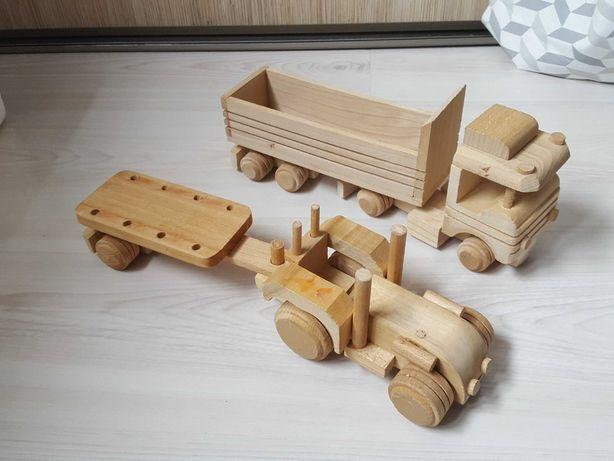 Drewniana zabawka auto cieżarówka traktor
