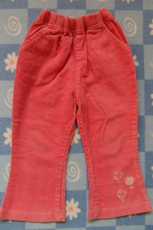 Sztruksowe spodnie rozm. 86 + gratis