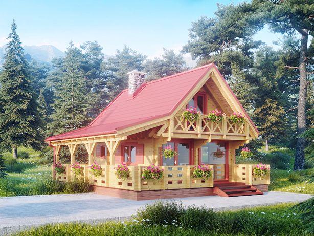 Dom drewniany Azalia II 62m2 +18m2 taras Letniskowy, całoroczny