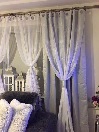 Zasłony srebrno szare błyszczące glamour z cyrkoniami śliczne nowe