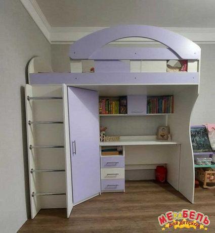 Кровать-чердак детская со шкафом и столом от производителя