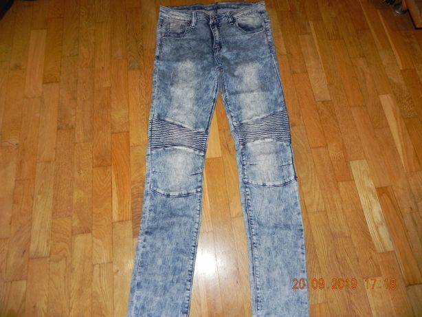 spodnie jeansy reporter young z przeszyciami