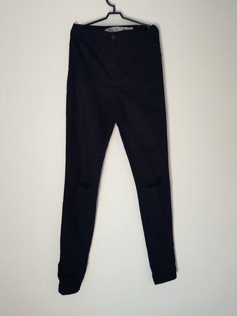 Czarne spodnie z bardzo wysokim stanem jegginsy z dziurami Denim Co XS