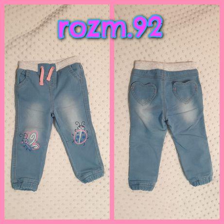 R.92 Spodnie joggersy miękki jeans dla dziewczynki