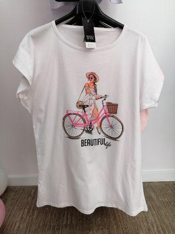 T-shirt bluzka damska z nadrukiem rower biała różowa 2 XL 3 XL 4 XL