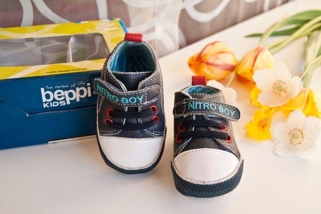 Обувь для малышей до года, кожаные кеды на липучке бренда BEPPI, 16р