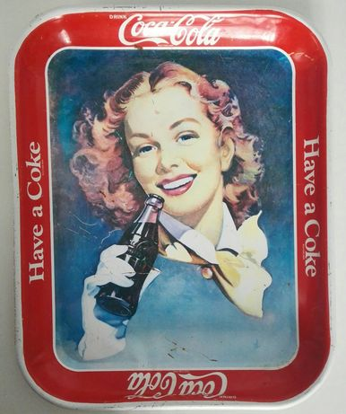 """Coca-Cola"" oryginalna metalowa tacka z lat '50"