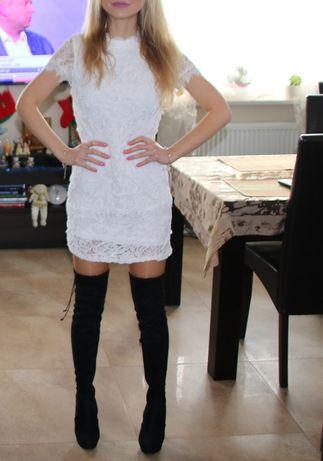 Biała koronkowa sukienka mini
