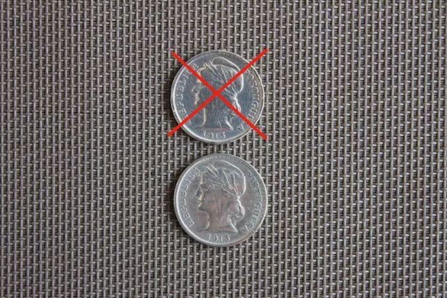 Antiga moeda de 20 Centavos em prata de 1913 (BELA)
