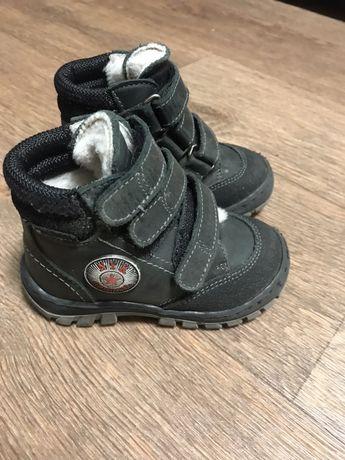 Кожаные ботинки на меху на мальчика теплые нубук NYK original