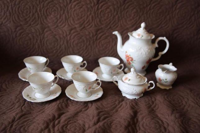 Bardzo piękny komplet porcelanowy do kawy lub herbaty dzbanek filiżank