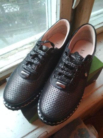 Макасины черные кожа на шнурках