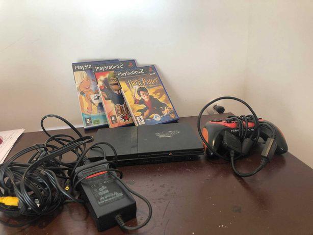 Playstation 2 slim (botão de ligar não funciona) + comando + 3 jogos