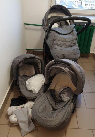 Wózek 3w1 Adamex Pajero gondola spacerówka fotelik duży zestaw dodatki