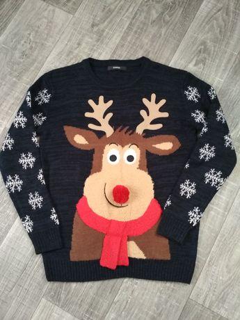 Теплый новогодний свитер 11-12лет