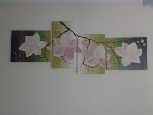 Obraz duży tryptyk na płótnie malowany ręcznie