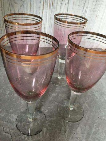 Бокалы винные, сервиз, советский, цветное стекло. Снизили цену