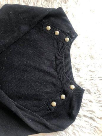 Czarny sweter H&M rozmiar S zdobne złote guziki ściągacze