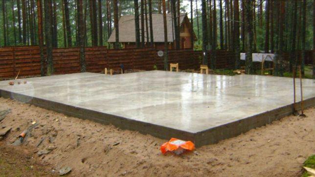 Строительство фундамента, монолитное перекрытие, кладка газоблока