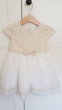 Minimi złota biała ecru sukienka dziewczęca sukieneczka elegancka 92