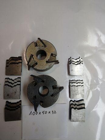 Dwie głowice frezowe do drewna 100x50x32 + 8 kpl. noży