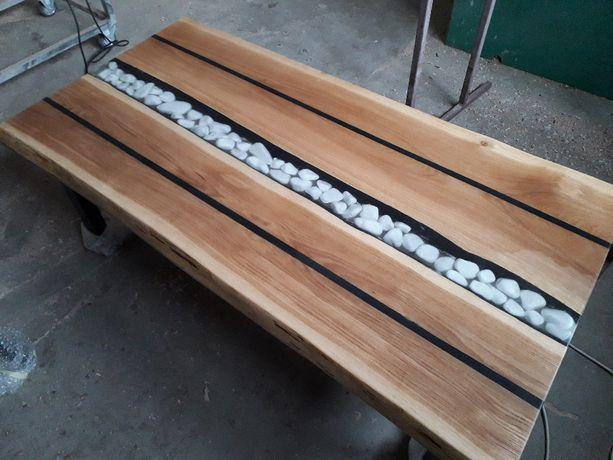 Ława,stół,stolik kawowy-żywica i drewno-Górski Potok