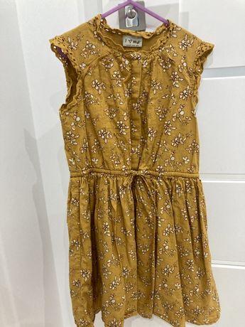 Jesienna piekna sukienka musztardowa szeroka next 134 cm