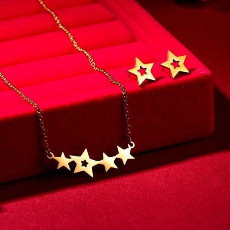 Śliczny Złoty Komplet Biżuterii Łańcuszek Zawieszka Kolczyki