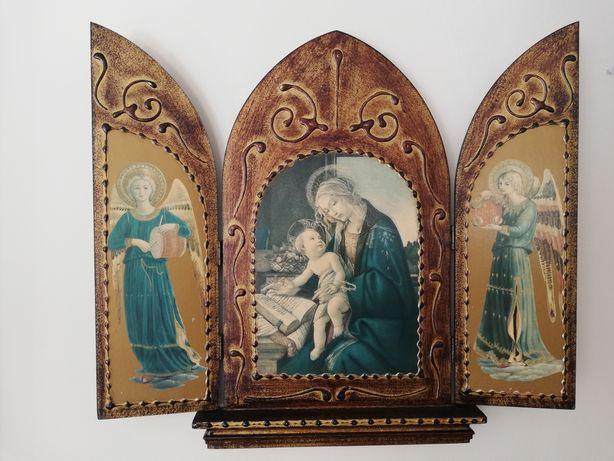Quadro tríptico de arte sacra antigo