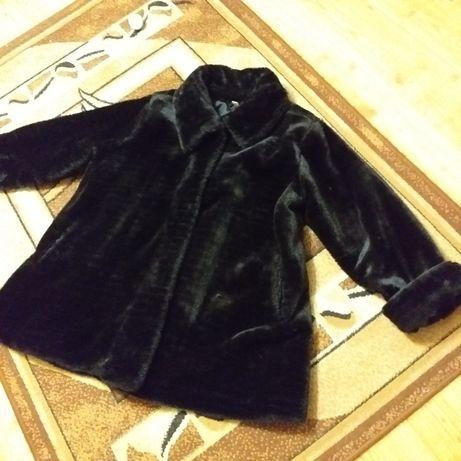 Futro sztuczne czarne płaszcz futrzany damski xxxl