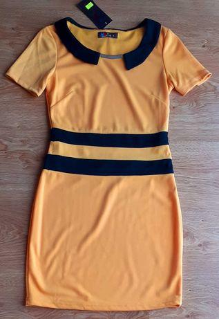 Sukienka musztardowa s okazja 36