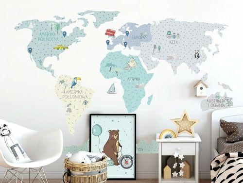 Naklejka mapa świata mietowa  pastelowelove