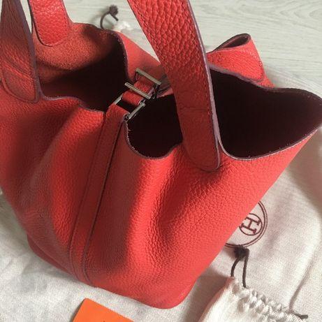 Сумка женская Hermes мягкая кожа, брендовая сумка красного цвета