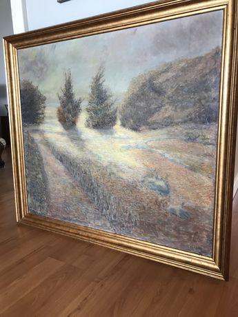 Obraz  aukcyjny olejny na płótnie w drewnianej złotej ramie