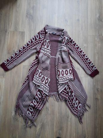 Kardigan sweter długi lejący się dziergany 40/42