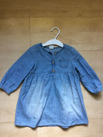 Sukienka dziecięca niemowlęca H&M 80 dżinsowa