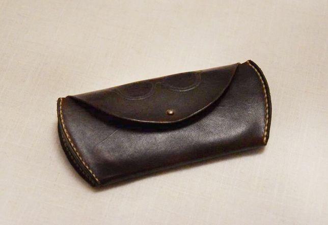 Skórzany pokrowiec na okulary, na prezent, ręcznie robiony portfel