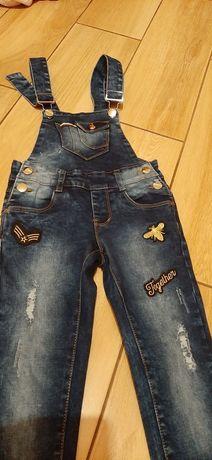 Nowe śliczne spodnie jeansowe ogrodniczki roz.116