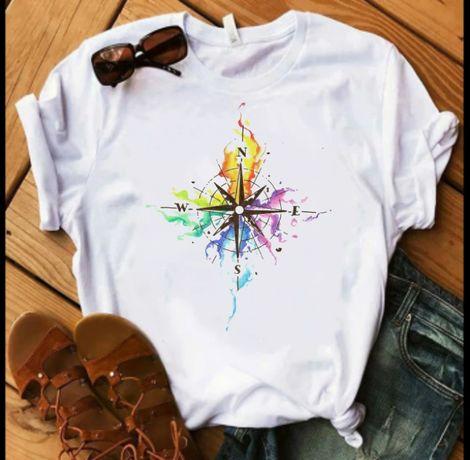 Koszulka bluzka t-shirt róża wiatrów watercolor S-XXL