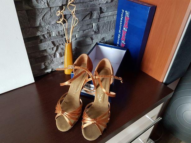 Buty do tańca, ślub, wesele 39, satyna, obcas 7,5 cm