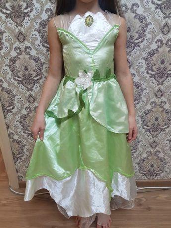 Нарядное новогоднее платье Disney принцесса Тиана девочке 7-8 122-128