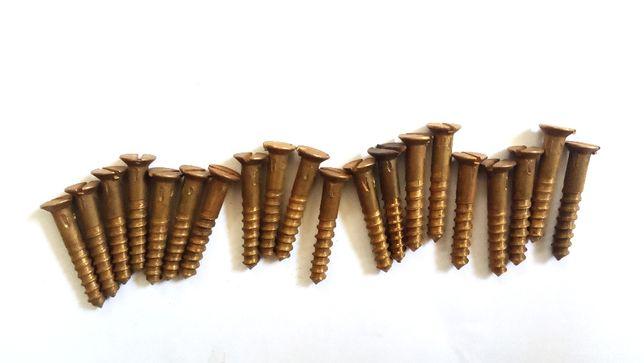 Wkręty do drewna, stożkowe, nacięcie płaskie, mosiądz, fi 4mm
