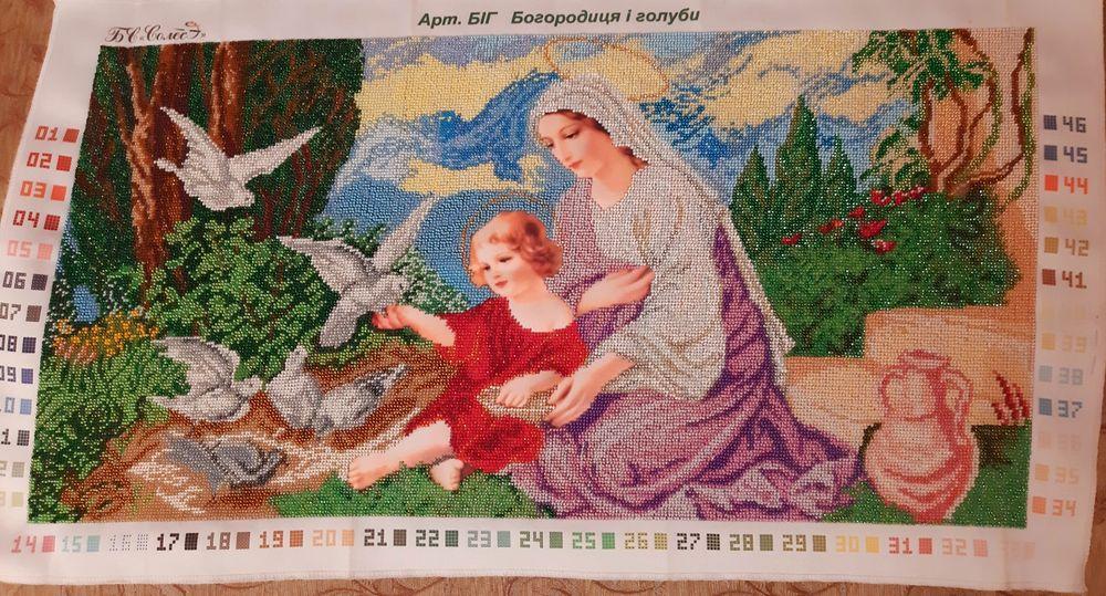 """Продається вишитий образ """"Богородиця і голуби"""" Тисмениця - зображення 1"""