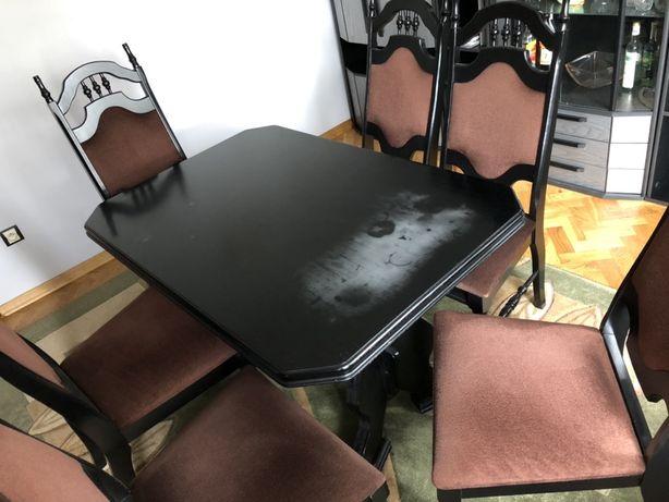 Stół rozkładany + 6 krzeseł. Zestaw czarno brązowy