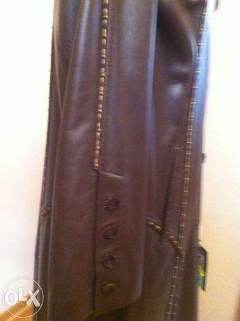 Płaszcz włoski skórzany, brąz, nowy