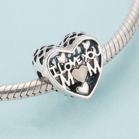 Charms do pandora srebro 925 KOCHAM CIĘ MAMO I LOVE YOU MOM