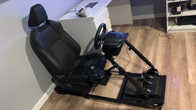 Fotel skórzany sportowy pod kierownice stelaż